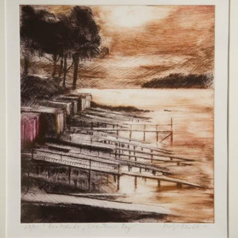 Fine art Gallery near Me with affordable modern contemporary Dry Point by Philip Beadle Christchurch Art For Sale 9
