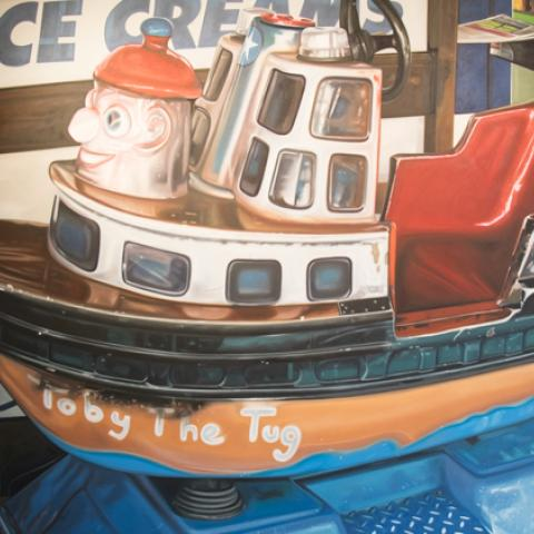 David Woodings Oil Painting on Canvas Dry Dock Devonport at Windsor Gallery