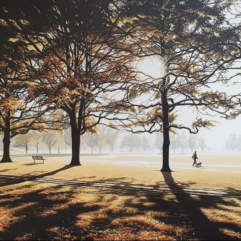 Autumn Morning Hagley Park by Julia Drake at Windsor Gallery - original fine art gallery christchurch near me
