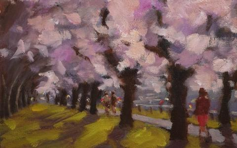 Cherry Blossom Oil Painting by Philip Beadle - original fine art gallery christchurch near me