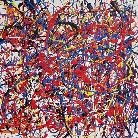 Work by Ivan Button in the Style of Jackson Pollock
