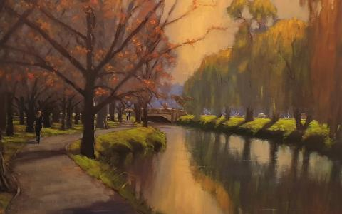 Avon River Oil on Canvas - Philip Beadle  - Christchurch art gallery