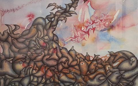 Airbourne Water Colour & Ink  - Windsor Gallery - Christchurch art gallery