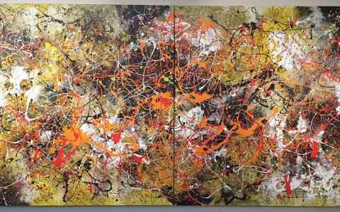 Ivan Button in the Style of Jackson Pollock 2 - Windsor Gallery Contemporary Acrylics