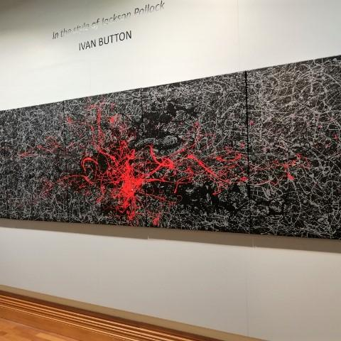 Ivan Button in the style of Jackson Pollock 5  - Windsor Gallery Contemporary Acrylics