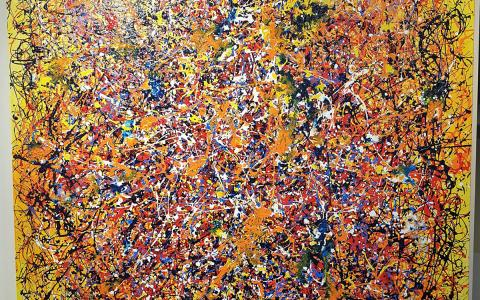 Ivan Button in the Style of Jackson Pollock Yellow - Windsor Gallery Contemporary Acrylics
