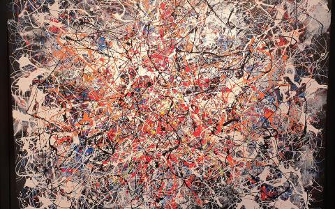 Ivan button in the Style of Jackson Pollock Black Multi - Windsor Gallery Contemporary Acrylics