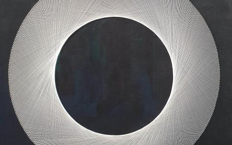Silver Eclipse, Thread on Velvet by Bruce Stilwell
