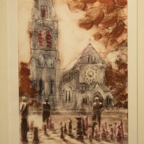 Fine art Gallery near Me with affordable modern contemporary Dry Point by Philip Beadle Christchurch Art For Sale 4