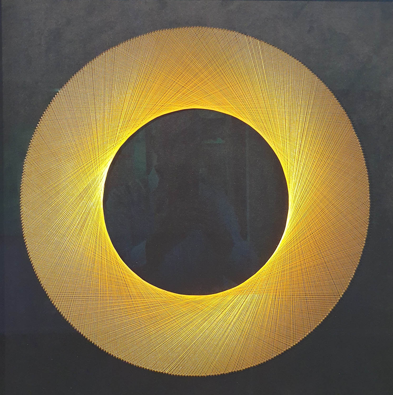 Gold Eclipse, Thread on Velvet by Bruce Stilwell