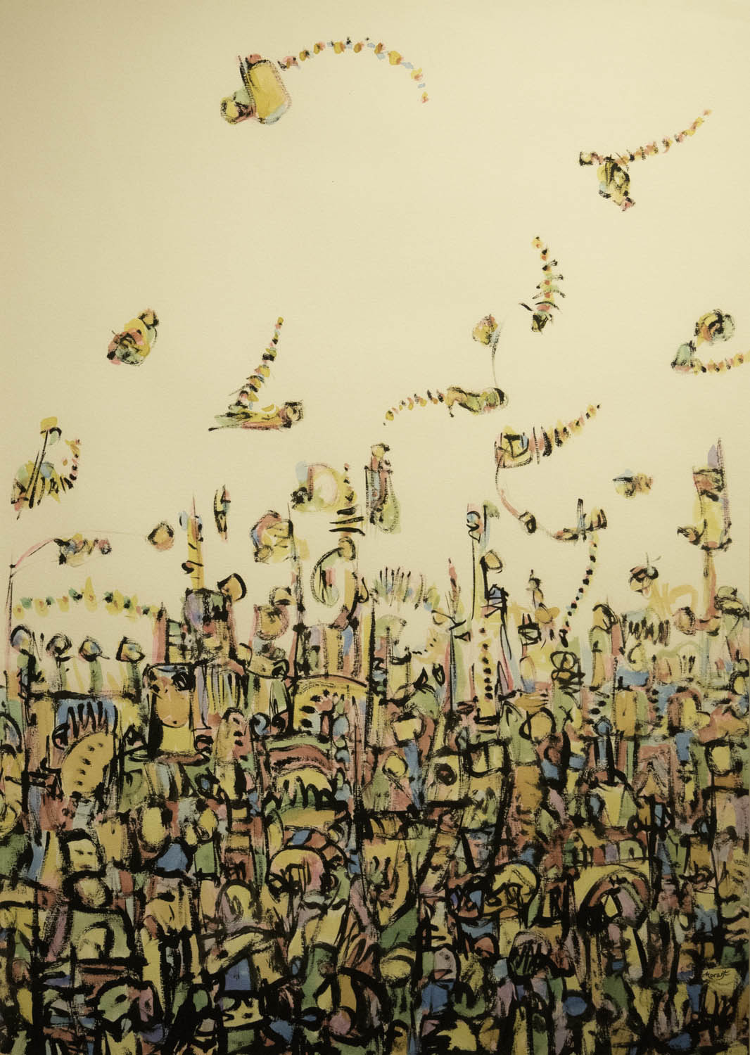 Urban Song Painting in Mixed Media on Paper by Keith Morant Exhibition at Windsor Gallery
